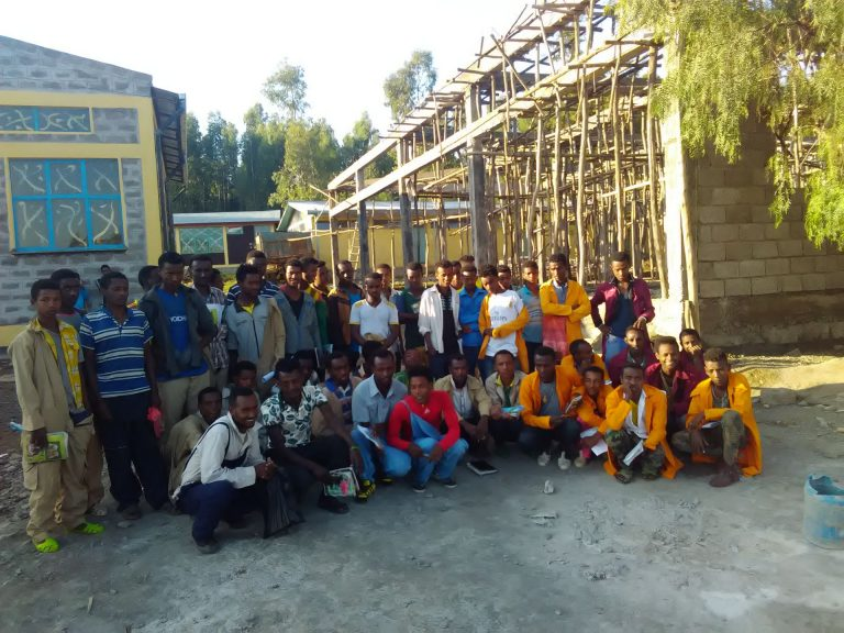 Students outside the construction site