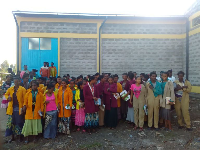 Students outside the school