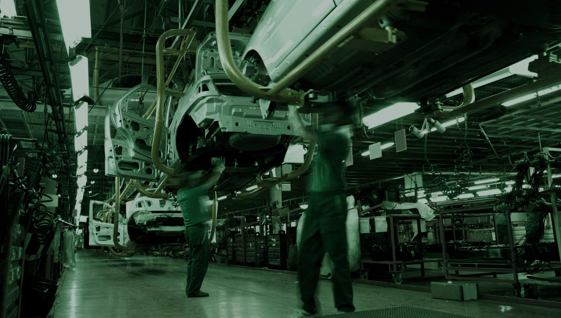 Automotive industry image of car manufacturing line