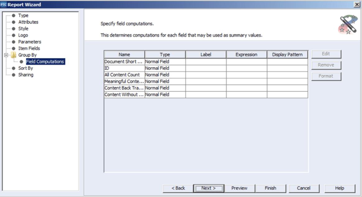 PTC Integrity Reporting Field Computations